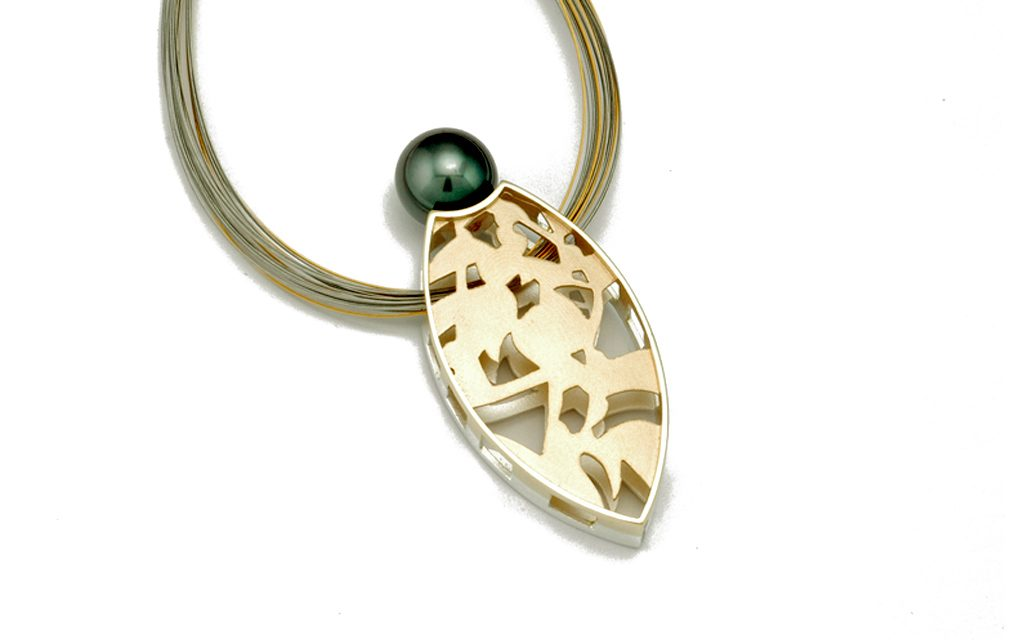 "1587N-gold-&-silver - 14 karat gold and Sterling Silver Pendant with 12mm black South Sea Pearl 2 1/4"" (7.7g) Price Upon Request"