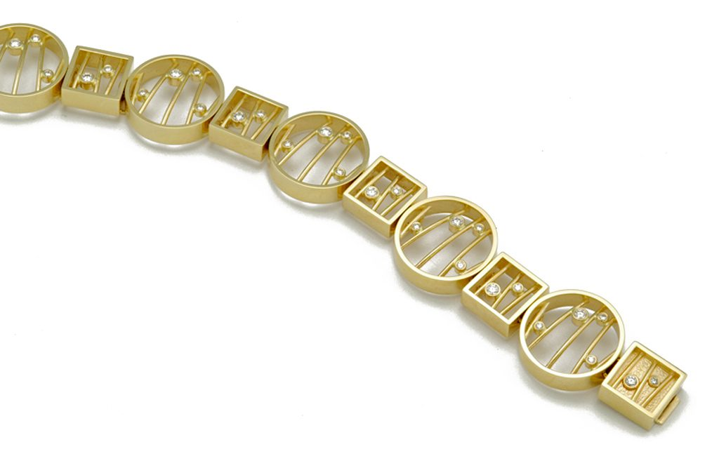 4022B - 14K gold bracelet set with .90cttw. Diamonds (42.5g) Price Upon Request Note-Components from 4021B can be combined to create different lengths and variations