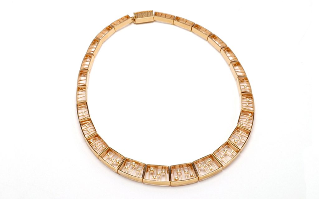 8097N - 14 karat gold link necklace with integrated safety clasp. Set with 1.00cttw. Diamonds (82.4g) Price Upon Request
