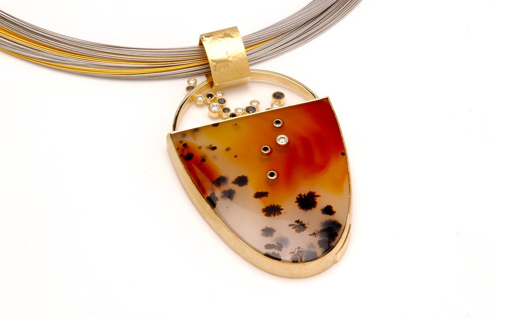 8098N - 18 karat gold pendant, set with Montana Moss Agate and .54cttw. Black and white Diamonds (11.3g) Price Upon Request