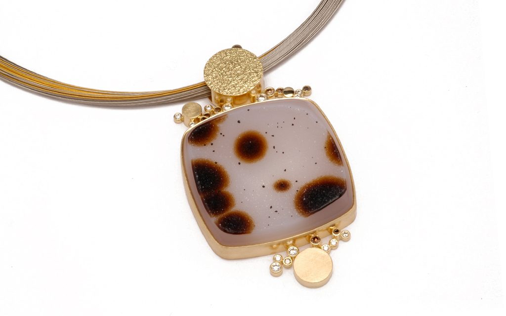 8102N - One of a kind pendant constructed of 18 karat gold set with a Montana Druzy Agate and .72cttw. Cognac and White Diamonds (15.1g) Price Upon Request