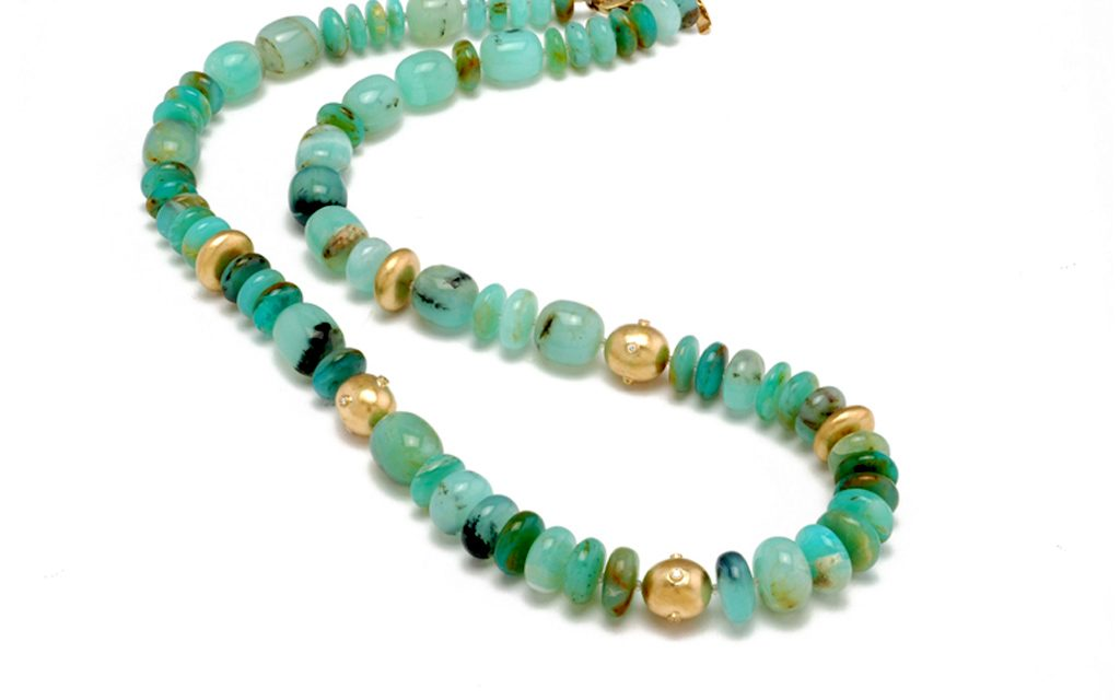 8103N - Necklace of fine Peruvian Opal beads with accents of 18 karat gold beads and .24cttw. Diamonds (23.8g) Price Upon Request