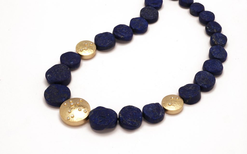 8104N - Necklace of rough Lapis with 18 karat gold hollow formed beads and .32cttw. Diamonds (16.2g) Price Upon Request