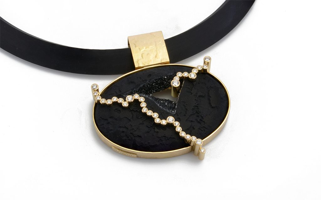 8110N - 18 karat gold fabricated necklace set with a carved Druzy Onyx and .94cttw. Diamonds (15.3g) Price Upon Request