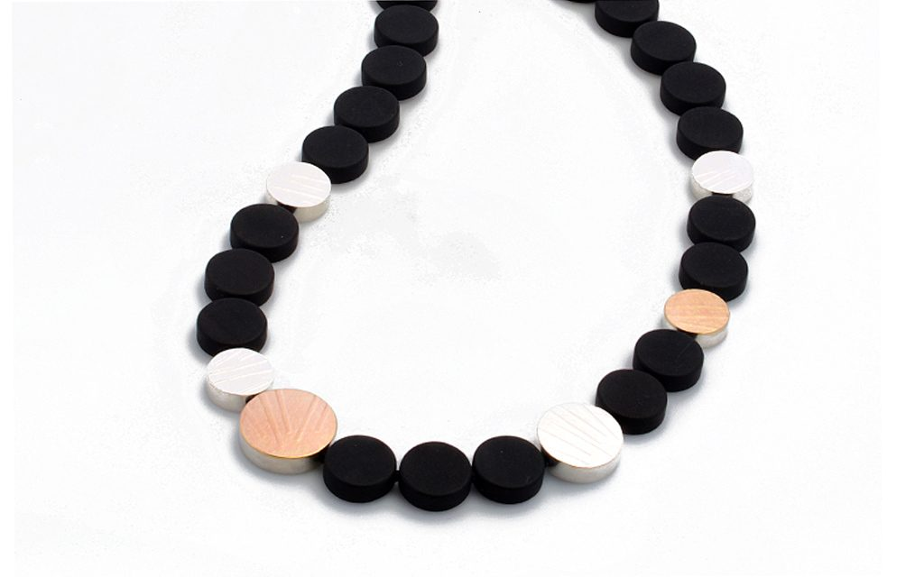 "8112N - 14 karat gold, Sterling Silver and Onyx necklace. 17"" in length Price Upon Request"